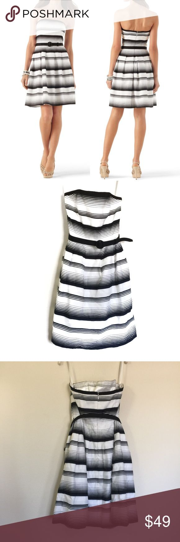"""WHBM black white """"Mod-Stripe Fit & Flare Dress"""" 6 WHBM black white """"Mod-Stripe Fit & Flare Dress"""", great condition. Strapless with belt. Pleated skirt, fully lined with lace trim petticoat. Back zip and hook closure, light boning in bodiece. Pit to pit 16.5"""", waist 14.5"""", length pit to hem 29"""". White House Black Market Dresses Strapless"""
