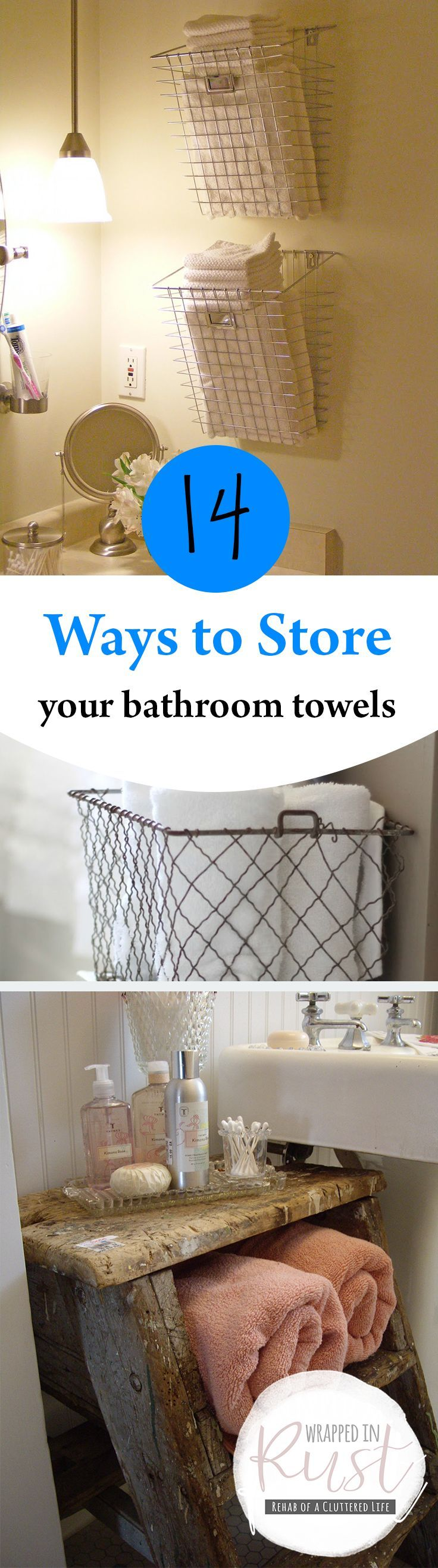 14 Ways To Store Your Bathroom Towels Small Bathroom Storagesmall
