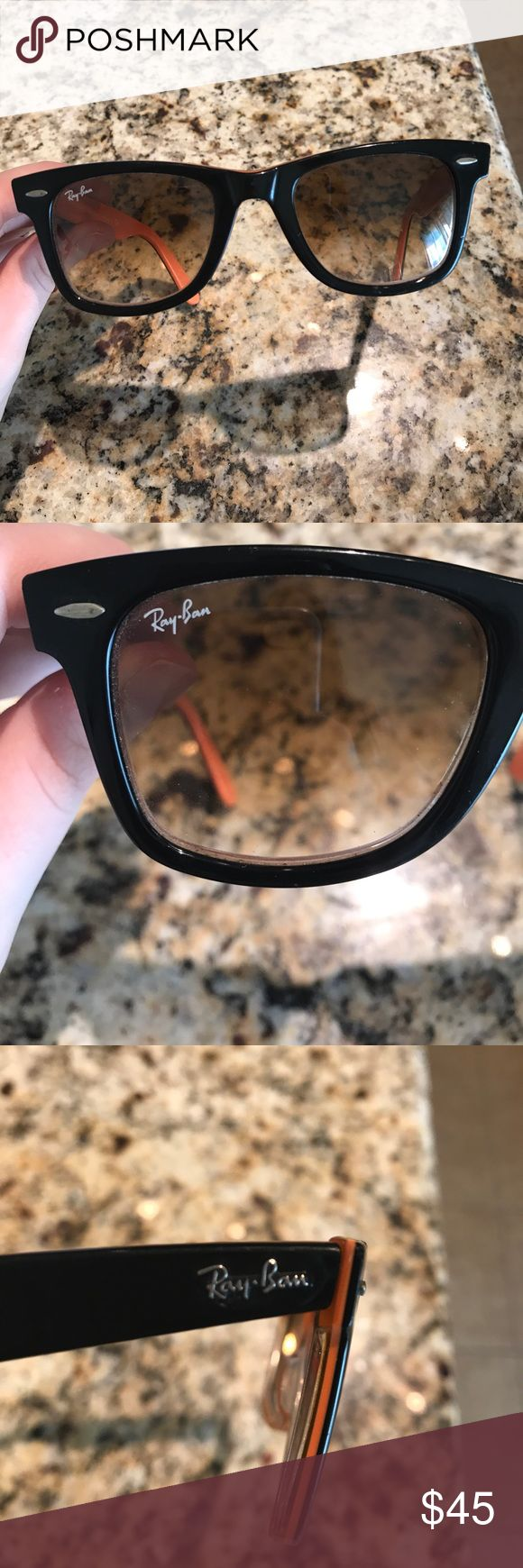 ray-ban original wayfarer sunglasses used authentic black and orange ray-ban wayfarer glasses. some scratches but still cute! Ray-Ban Accessories Sunglasses