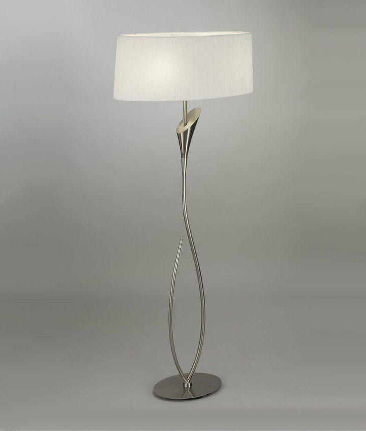 Lámpara de pie blanco níquel LUA - La Casa de la Lámpara
