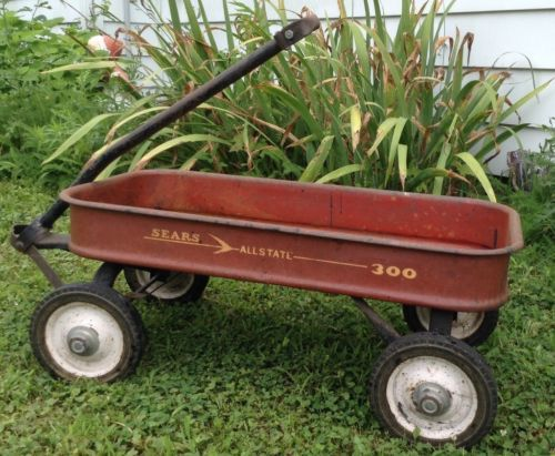 Vintage-Sears-amp-Roebuck-Allstate-300-Red-Metal-Pull-Wagon-Toy-Garden