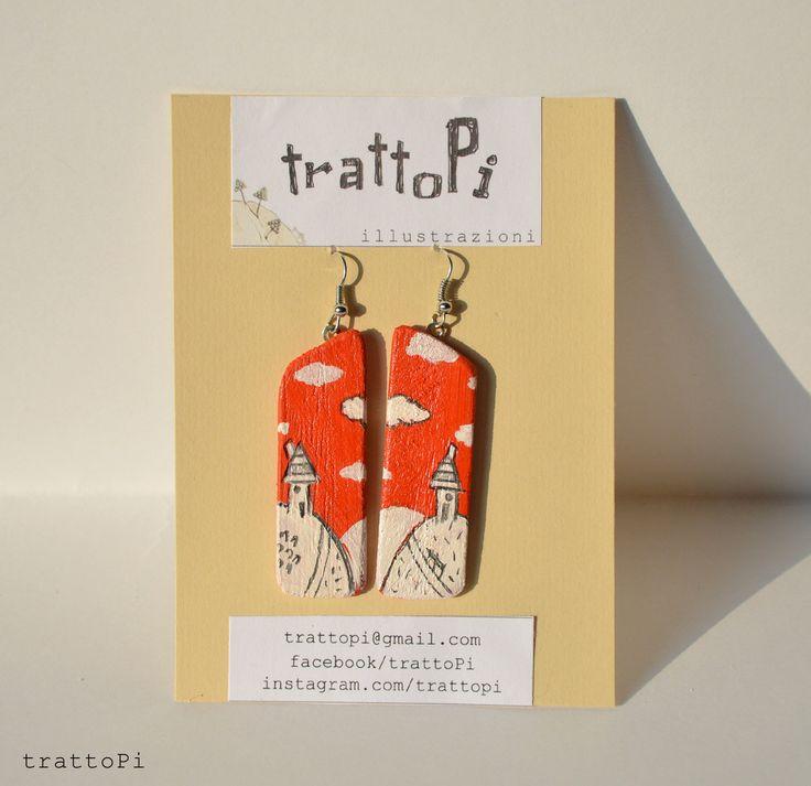 """orecchini dipinti a mano """"paesaggio rosso"""" : Orecchini di trattopi"""