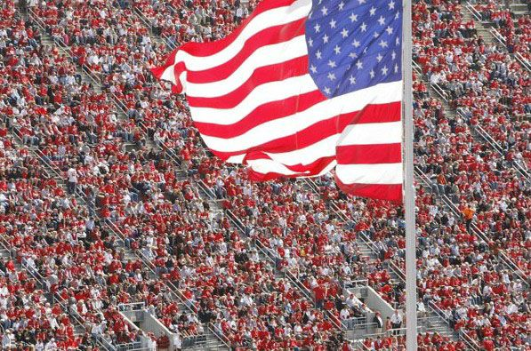 Anerican Flag at Ohio Stadium at OSU Win Over UAB 9/29/12.