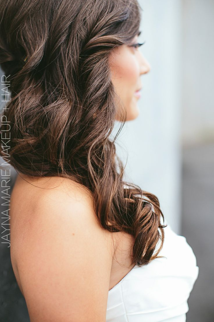gorgeous wedding day hair. Styled to the side to show off length with soft curles. LOVE!  Hair and makeup: Jayna Marie www.jaynamarie.com