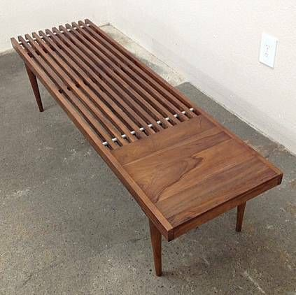 George Nelson inspired teak entryway bench or coffee table Built in side table on one end 60L x 17W x 15.5H 206.596.6495 slatted  $195 (craigslist)
