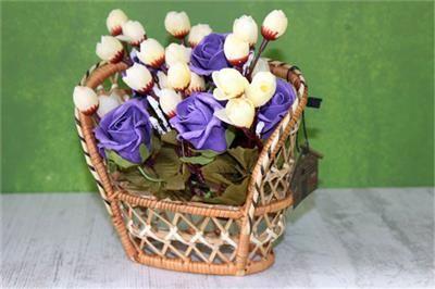 Hasır Sepet İçinde Yapay Çiçek Tanzimi Mor Güller                                   (ST00465)