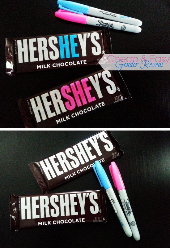 'He or She' Hershey Bar Baby Shower Favor | Click Pic for 30 DIY Baby Shower Ideas for Boys | DIY Baby Shower Party Favors for Boys. Yeppers like this for a girl!