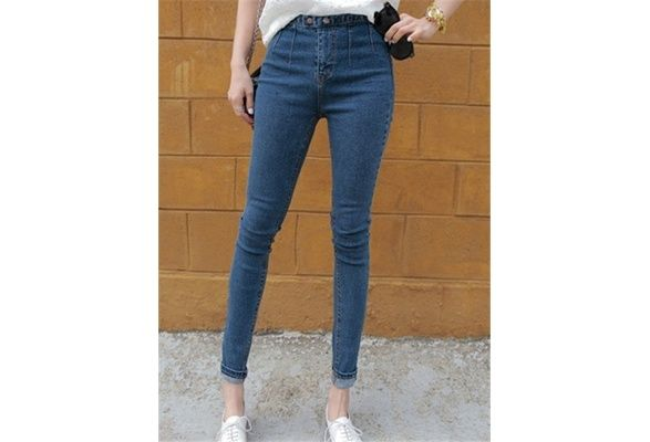 Women Fashion Straight Pants Pencil Pants F (Color: Blue) $12 USD #wish #onlineshopping #shoppingmadefun #fashion #gift #creativeliving #householdgoods #homedecor #home