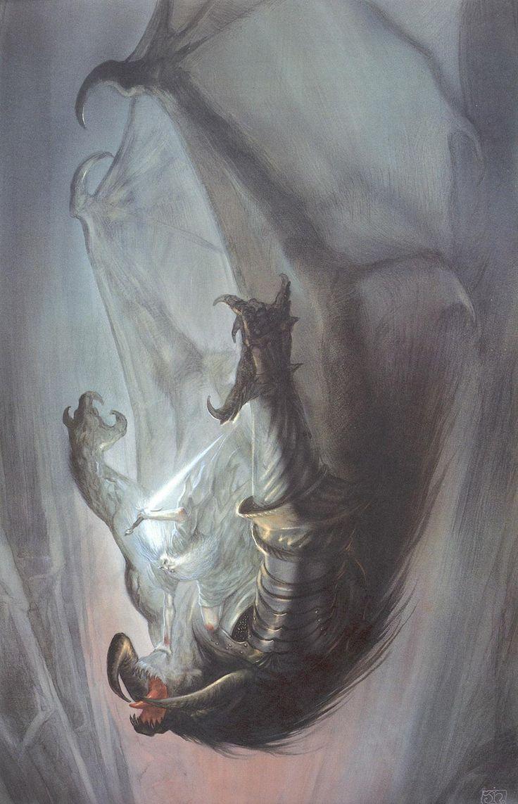 Gandalf y al Balrog cayendo en plena lucha - John Howe