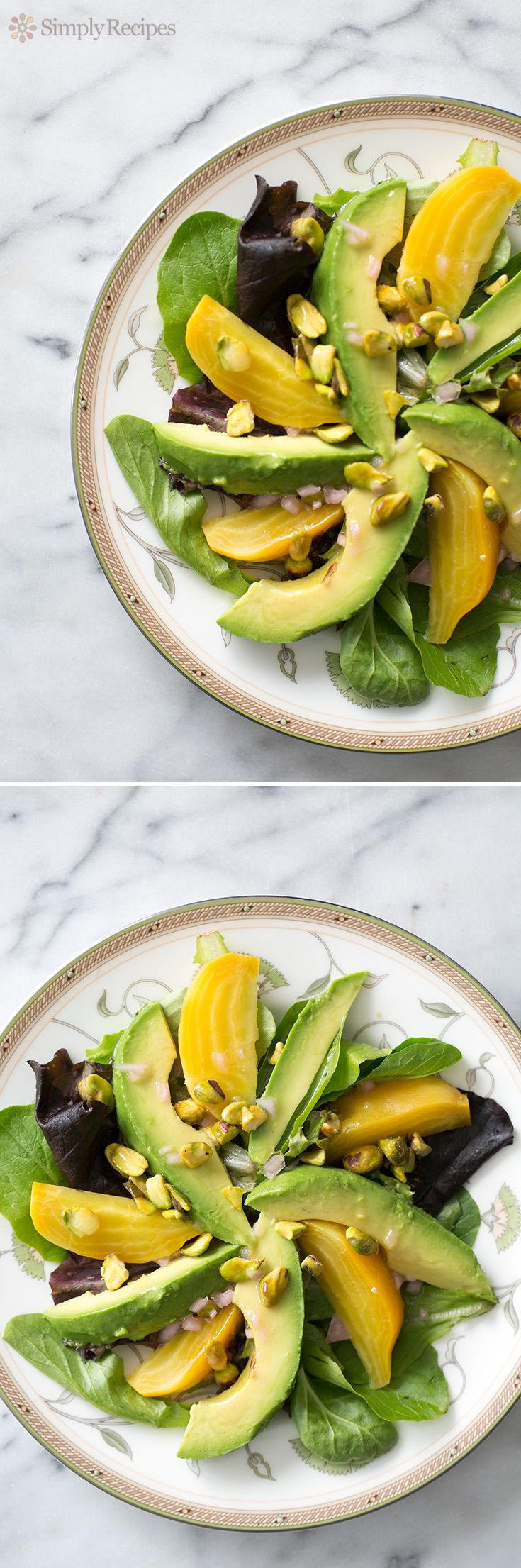 Avocado Beet Salad with Citrus Vinaigrette ~ Simple beet and avocado salad, sprinkled with pistachios and drizzled with a citrusy vinaigrette! ~ SimplyRecipes.com