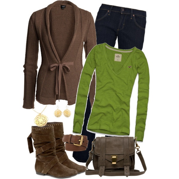 cute!Green Shirts, A Mini-Saia Jeans, Casual Outfit, Skinny Jeans, Green And Brown, Brown Belts, Colors Schemes, Brown Sweaters, Brown Boots