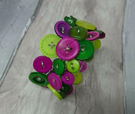 Pink and green wraparound button bracelet by FolbarJewellery