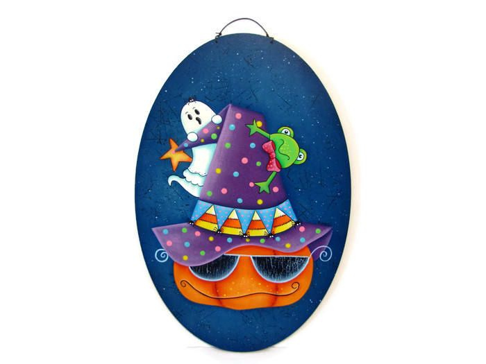 Halloween Pumpkin, Ghost, Frog on Oval Plaque, Handpainted Wood Sign, Hand Painted Home Decor, Wall Art, Tole Decorative Painting by ToleTreasures on Etsy