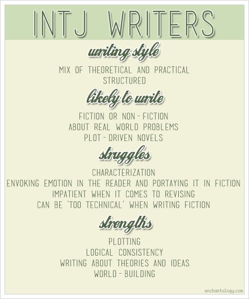 How being an #INTJ affects how you #write - http://www.enchantology.com/2013/02/intj-writers.html