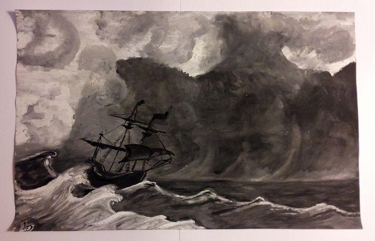 Bouře ( tempera a inkoust - A3)