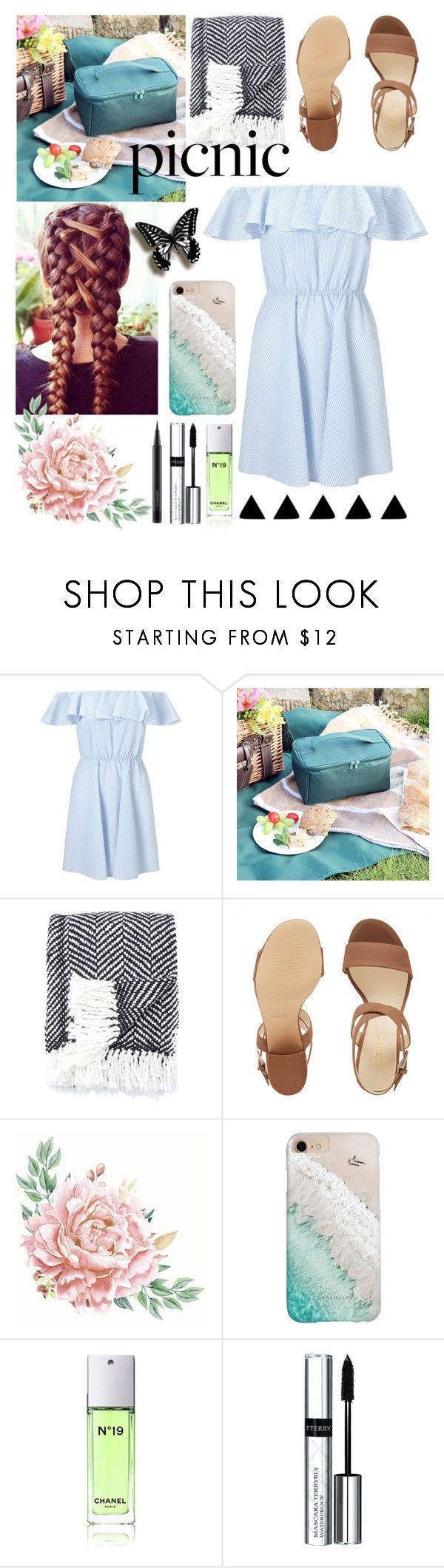 """Picnic"" by slytherin-for-life ❤ liked on Polyvore featuring Miss Selfridge, Kate Spade, Nine West, Gray Malin, Chanel, By Terry and MAC Cosmetics"
