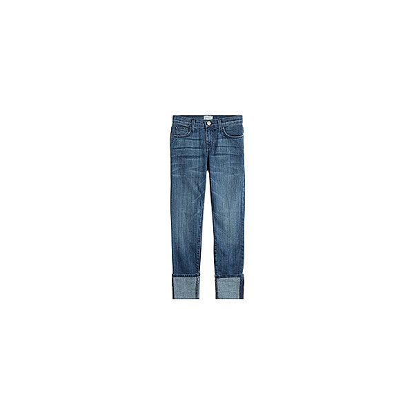 Current/Elliott The Cuffed Skinny Jeans ($165) ❤ liked on Polyvore featuring jeans, current elliott skinny jeans, cropped skinny jeans, cuff jeans, button-fly jeans and slim fit jeans