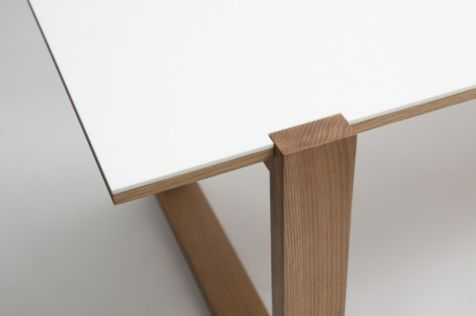 reGeneration | reversible dining table with oak on one side, corian on the other. Custom sizes and finishes available.