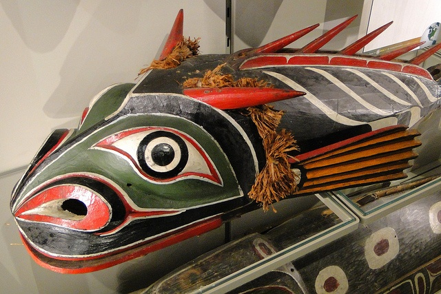 """This is a Supernatural Sculpin-like Being. It is a """"transformation"""" body-mask from the Kwakwka'wakw First Nations, sculpted before 1900. Museum Of Anthropology Vancouver BC"""