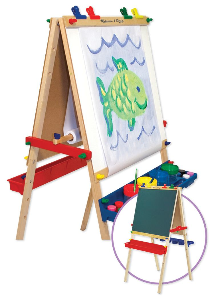 The double-sided, adjustable-height Deluxe Easel includes a dry erase board and chalkboard. Find this in the Classroom Essentials Catalogue: OPUS 1859240 Page 92 See the pages here: http://www.scholastic.ca/clubs/cec/