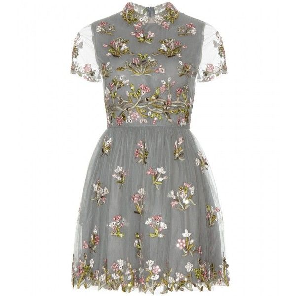 Valentino Embellished Tulle Mini Dress (659,585 INR) ❤ liked on Polyvore featuring dresses, vestidos, short dresses, valentino, grey, embroidered dress, grey mini dress, tulle cocktail dress, valentino dresses and embellished mini dress