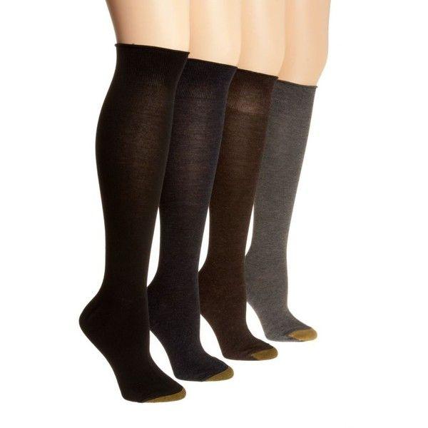 Gold Toe Black Knee Sock - Women's ($8) ❤ liked on Polyvore featuring intimates, hosiery, socks, black, navy blue knee high socks, knee hi socks, navy socks, navy knee socks and navy knee high socks