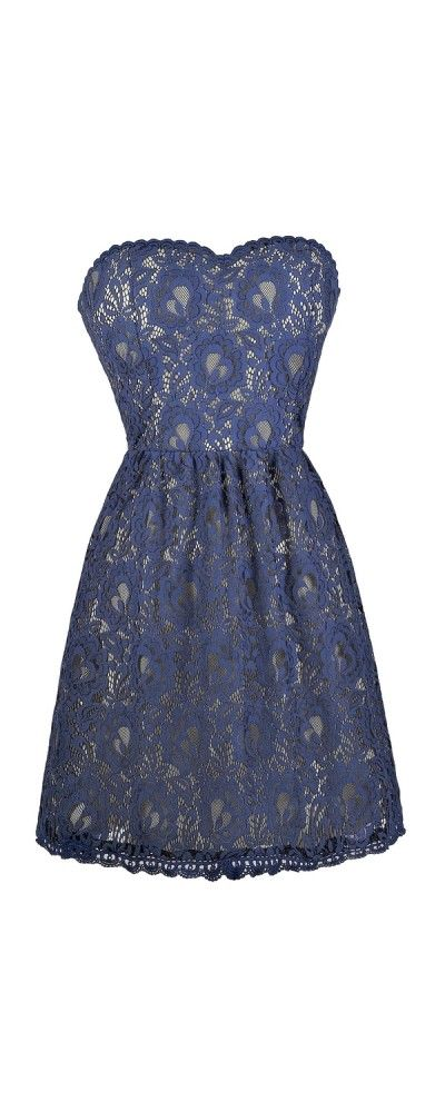 Lily Boutique So Smitten Strapless Blue Lace Dress, $44 Blue Strapless Lace Dress, Cute Online Boutique Dress, Lace Summer Dress www.lilyboutique.com