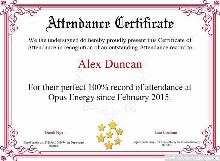 Deepthi Attendance Certificate Perfect Attendance Certificate Perfect Attendance