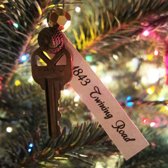 Your first house key as an ornament for when you move. You can remember all the great memories you had every year. Must do next year.