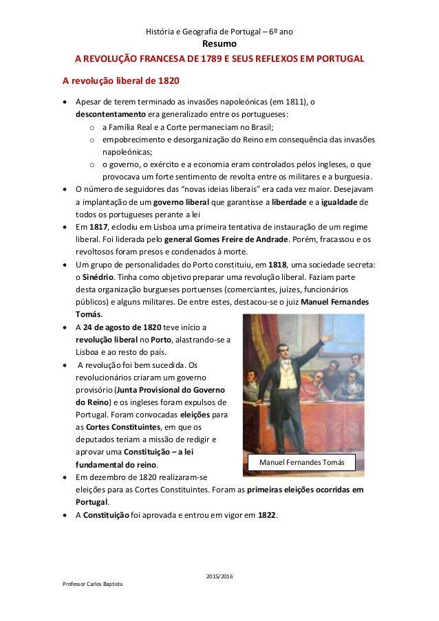 História e Geografia de Portugal – 6º ano Resumo 2015/2016 Professor Carlos Baptista Manuel Fernandes Tomás A REVOLUÇÃO FR...