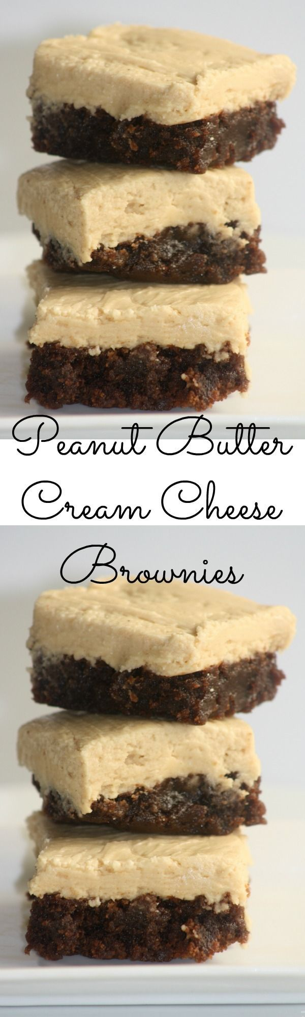 Peanut Butter Cream Cheese Brownies - These brownies are delicious and so easy to make!  |  http://www.sincerelyjean.com (Betty Crocker Chocolate Frosting)