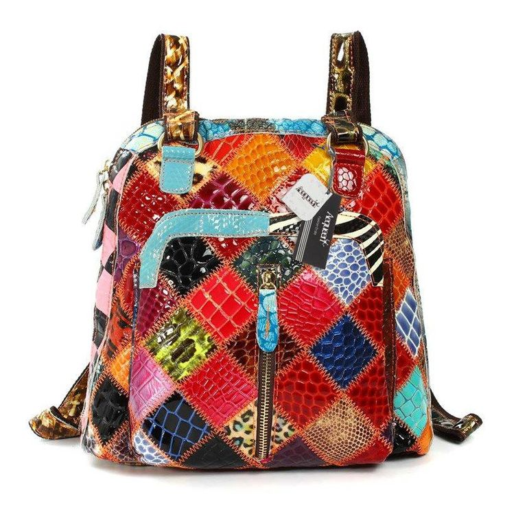 Genuine Leather Backpack Rando – Floral Cat