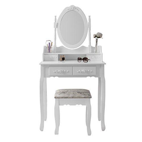 Capri Wei  Schminktisch Hocker U0026Mirror Set Kinderzimmer Kommode 5  Schubladen. White Dressing Table ...