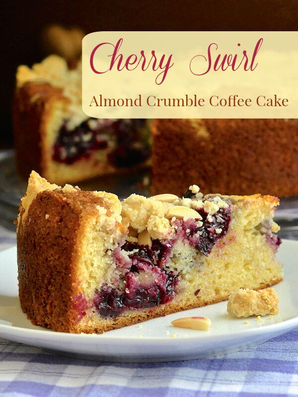 This delicious almond and vanilla flavored coffee cake gets a swirl of sweet cherry compote through the cake before being topped by a buttery almond shortbread crumble.