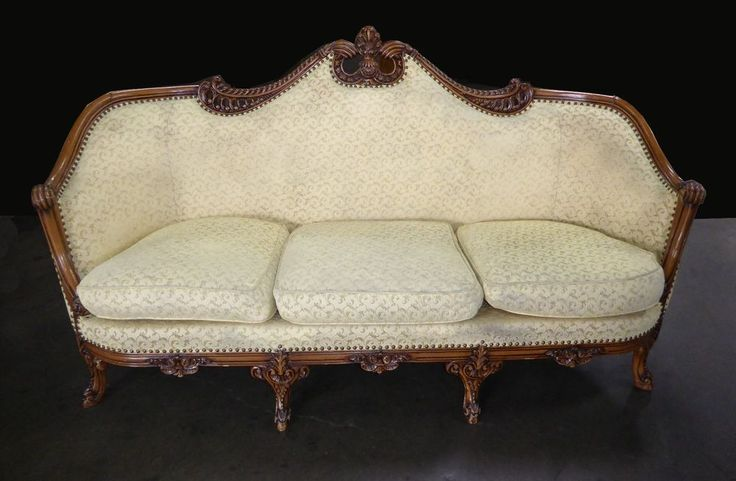 Vintage French Provincial Rococo Ornate Carved Gold Sofa