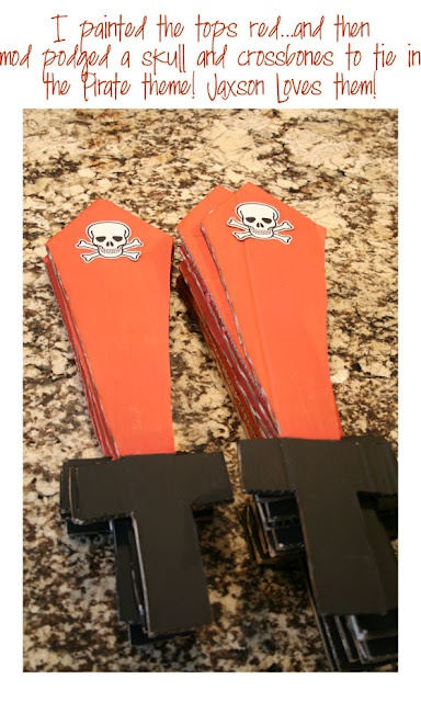 Make cardboard pirate swords for your pirate party.