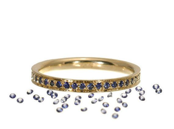 Dainty Sapphire Eternity Ring   Blue by anaisjewelrydesign on Etsy