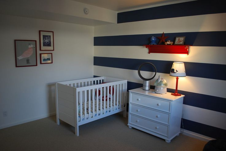 S 39 s nautical bedroom room walls and nursery for Accent stripe wall
