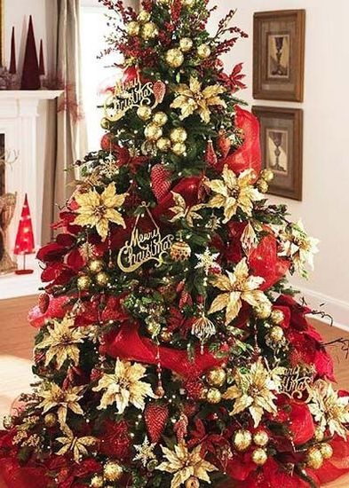 Poinsettia gold and a tree on pinterest for Red gold christmas tree decorating ideas