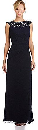 Alex Evenings Beaded-Neck Ruched Gown