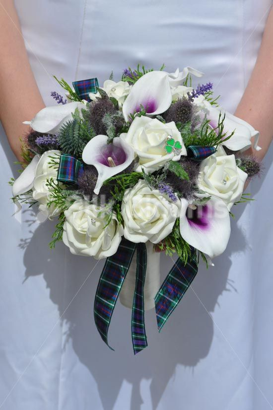 Scottish Inspired Ivory Rose, Purple Thistle and Picasso Calla Lily Bridal Wedding Bouquet #artificialflowers #wedding #weddingflowers #bouquet #flowers #bridal #silkflowers #thistles #lilies #roses #tartan