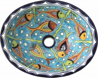 Cancun Talavera Ceramic Oval Drop In Bathroom Sink