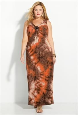 Brown Tie Dye Medallion Maxi Dress | Plus Size View All Dresses | Avenue