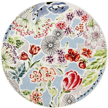 Beautiful porcelain cake plate, flower motif - Gien France