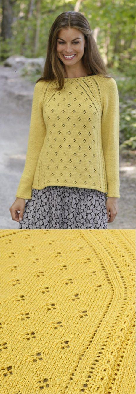 Padrão de tricô livre para uma camisola Raglan Lace Canari