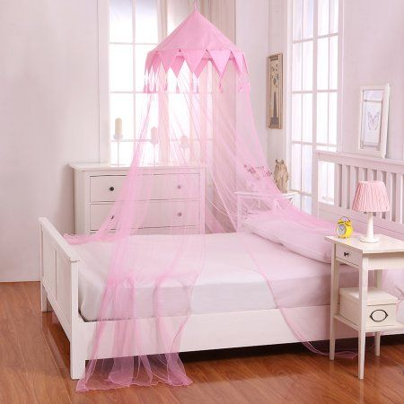 Kids Harlequin Collapsible Hoop Sheer Mosquito Net Bed Canopy In
