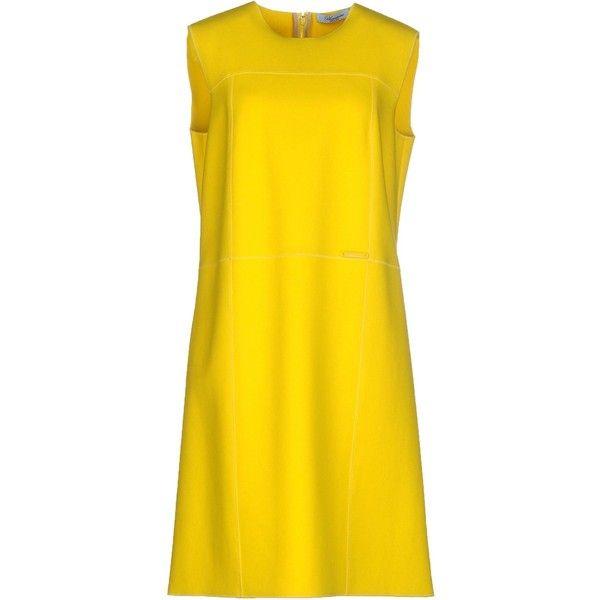 Blumarine Short Dress ($440) ❤ liked on Polyvore featuring dresses, yellow, yellow sleeveless dress, zip dress, yellow mini dress, zipper dress and no sleeve dress