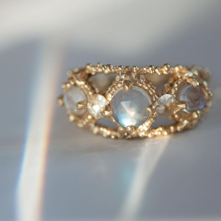 Titania's Ring, new depths of beauty and light. Moonstones and white sapphires, set in 18k gold, one of a kind by Polly Wales. Only at catbirdnyc.com.