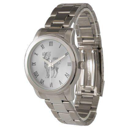 Aries the Ram Zodiac Silver Roman Numerals Wrist Watch - diy cyo personalize design idea new special