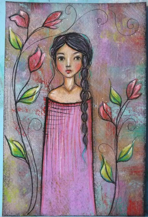 "Original OOAK 4 x 6 Mixed Media acrylic colored pencil ""Floral"" A Kennedy portrait woman flowers lavender"